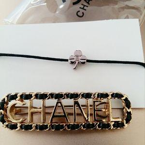 Authentic Chanel barette and clover bracelet